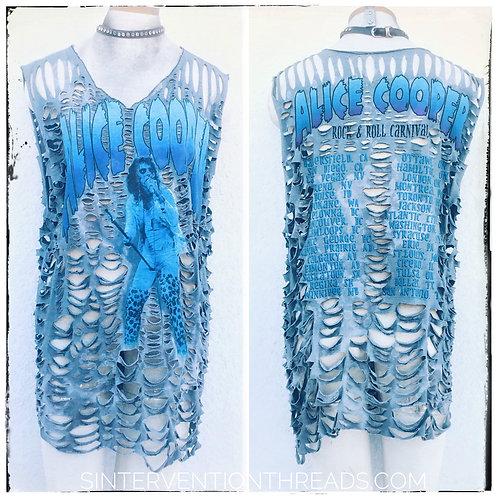 Alice Cooper Vintage tour shirt spiderweb shred