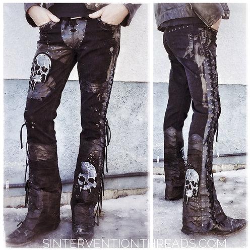 """BUCKSHOT"" Design Custom Order Leather Denim Stage Pants Streetwear"