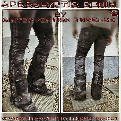 'Apocalyptic Denim' Custom Order Stage Pants Streetwear with leather