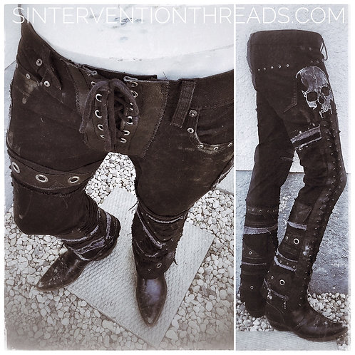 'Apocalyptic Denim w/ skulls  leather Custom Order Stage Pants Streetwear