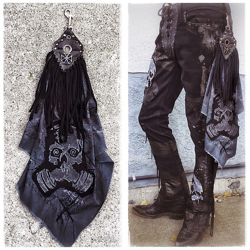 Custom distressed Rock n' Roll Bandana with belt clip gas mask