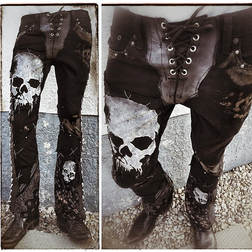 'Memento Mori' Custom Order Jeans with Skulls Stage Pants Streetwear