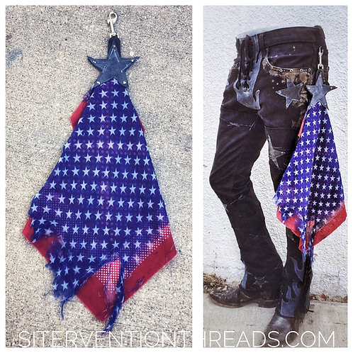 Custom distressed Rock n' Roll Bandana with belt clip red blue and white stars