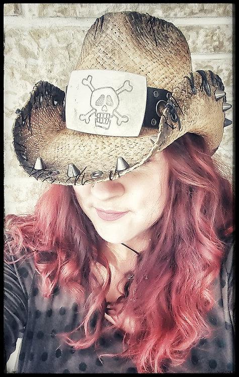 Custom one of a kind Unisex Straw pinch front Cowboy Hat Skull Size Medium