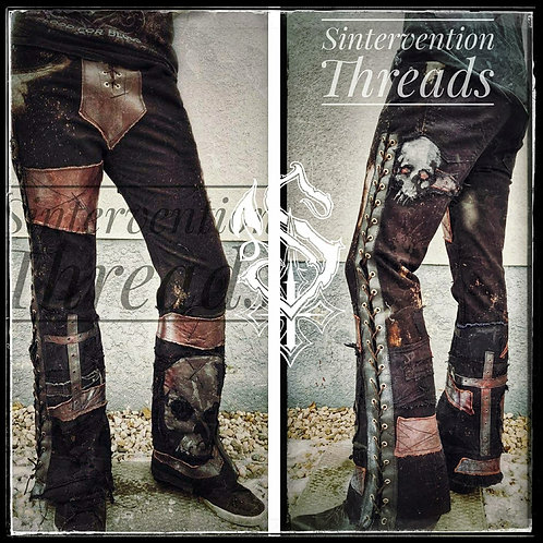'Apocalyptic Denim Custom Order 'Blood of my Enemies' Leather Stage Pants