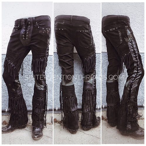 "Urban Outlaw ""Black Jack"" Custom Order Leather Stage Pants Streetwear"