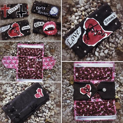 LOVE STINKS custom leather clutch purse