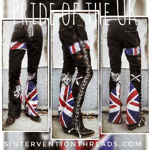 'Pride of the UK' Custom Order Distressed leather lace-up Rockwear Stage Pants