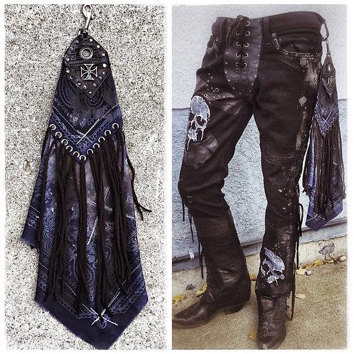 Custom distressed Rock n' Roll Bandana with belt clip Blue with fringe