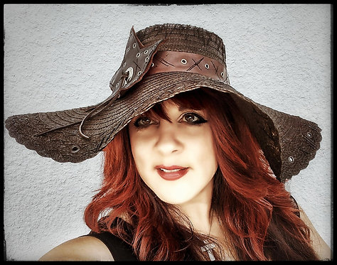 Custom Rocker Straw Gypsy Floppy Beach Boho hat Brown with Leather hatband