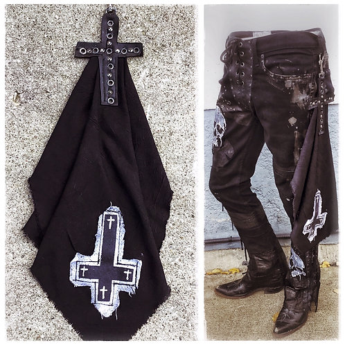 Custom distressed Rock n' Roll Bandana with belt clip Cross