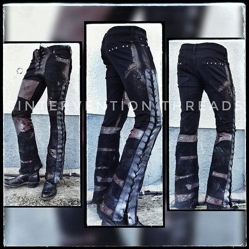 'Apocalyptic Denim' Custom Order Black & Oxblood leather Stage Pants Streetwear