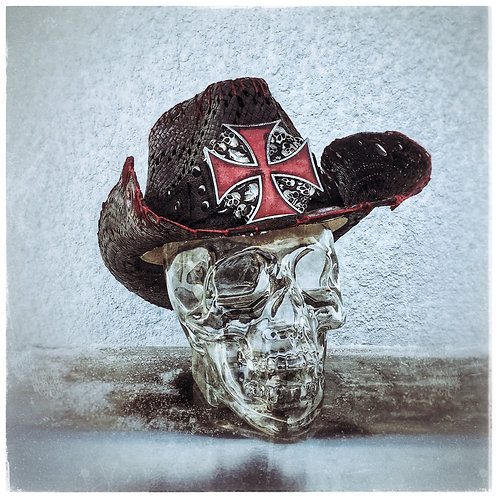 Custom one of a kind Straw Pinchfront Cowboy Hat Red Iron Cross