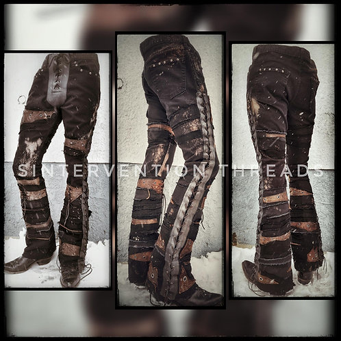 'Apocalyptic Denim' Custom Order Black and Tan leather Stage Pants Streetwear