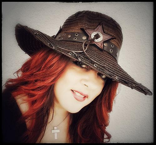 Custom Rocker Straw Gypsy Floppy Beach Boho hat Brown with Leather hatband