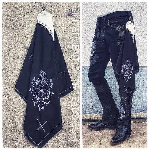 Custom distressed Rock n' Roll Bandana with belt clip