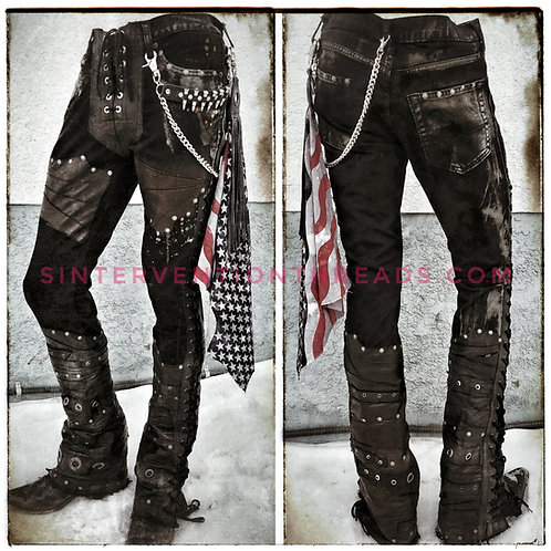 BLACKHORSE Custom Order Leather and Denim Stage pants Streetwear
