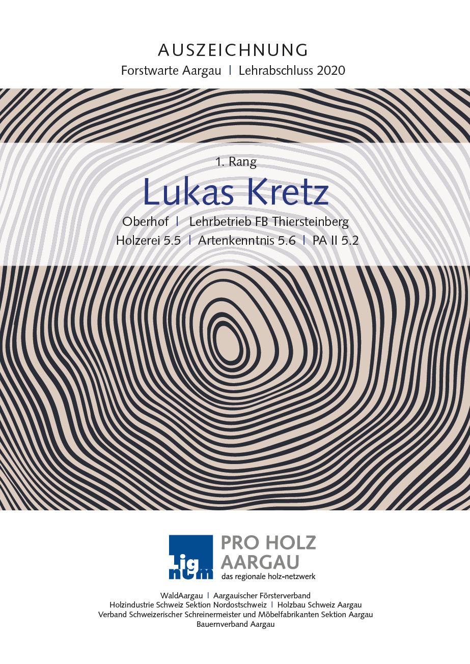 Urkunde Pro Holz Aargau