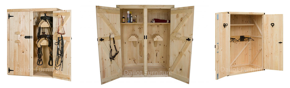 Dailot Furniture Wooden Double Doors Tack Lockers | Saddles Cabinets for Horse Barn