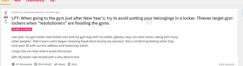 Gym theft problems