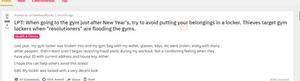 Gym theft problems