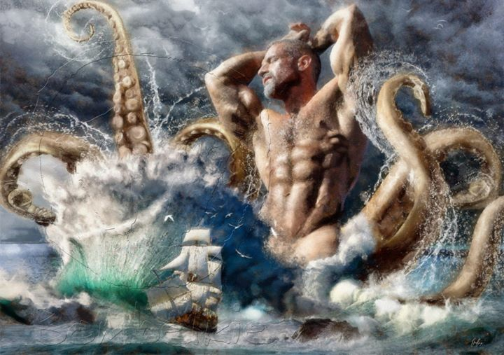 Facebook - Poseidon Awakens A digital painting of Colton Ford as Poseidon, one o