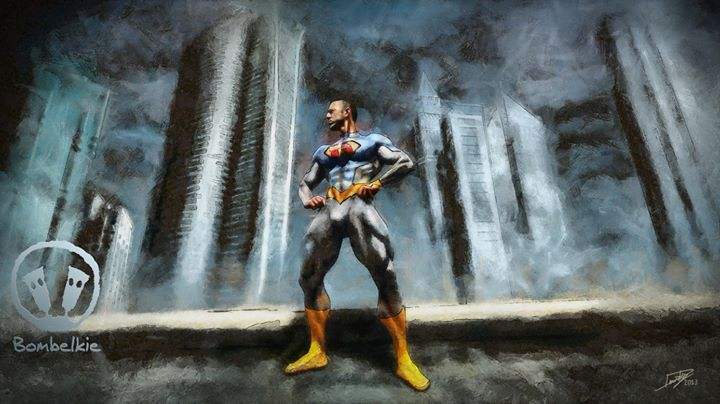 Facebook - A digital painting of Dino Rossi as a Superhero.  If you purchase thi