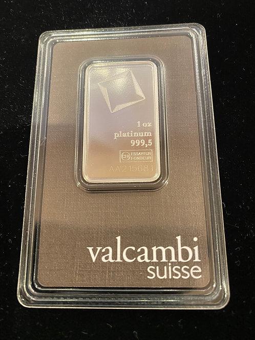 Platinum 1 Oz. Valcambi Suisse Bar