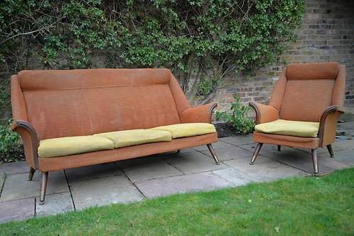 1950s 3 seater sofa and chair set