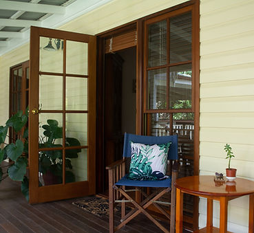 Veranda entrance to Lauren Joy Wilson's bodymind treatment room and waiting area in Cairns