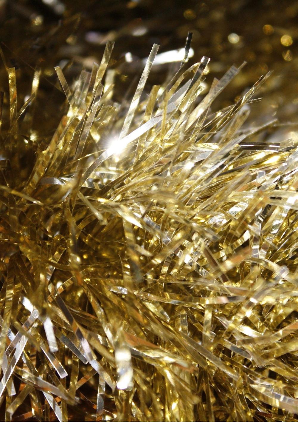 Gold festive tinsel