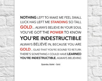 Inspirational affirmation for self esteem - chorus lyrics for Spandau Ballet's song Gold