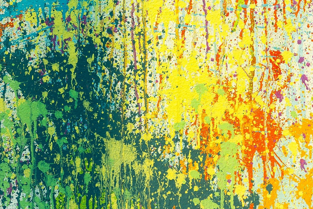 Yellow, green & red abstract painting