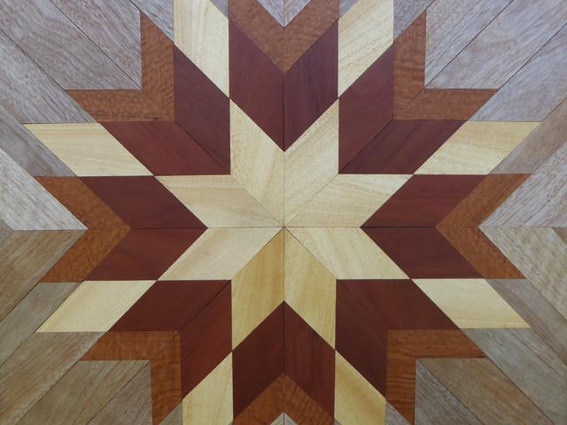 Wooden geometry artwork in star-shaped pattern