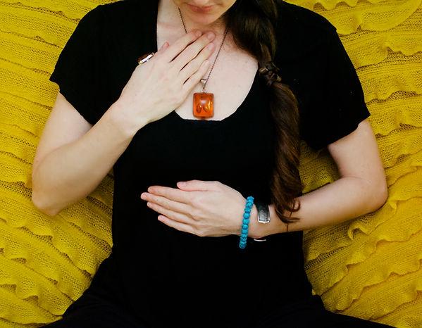 Bodyworker and Breathwork Practitioner Lauren Joy Wilson practising conscious breathing techniques