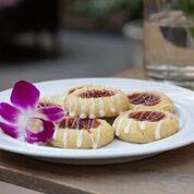 Nasturtium Shortbread Cookies with jam on top