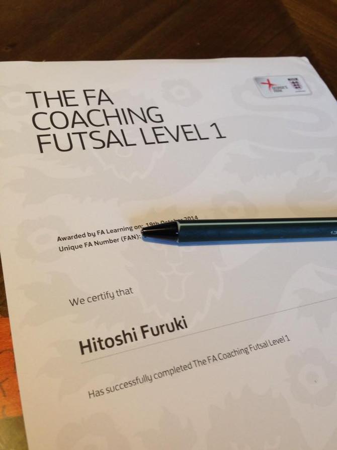 イングランドFA公認のフットサルコーチ(レベル1)になりました!