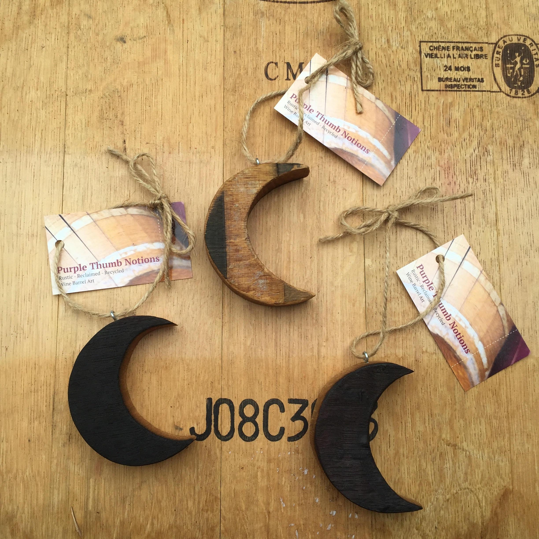 Wood Moon Ornaments