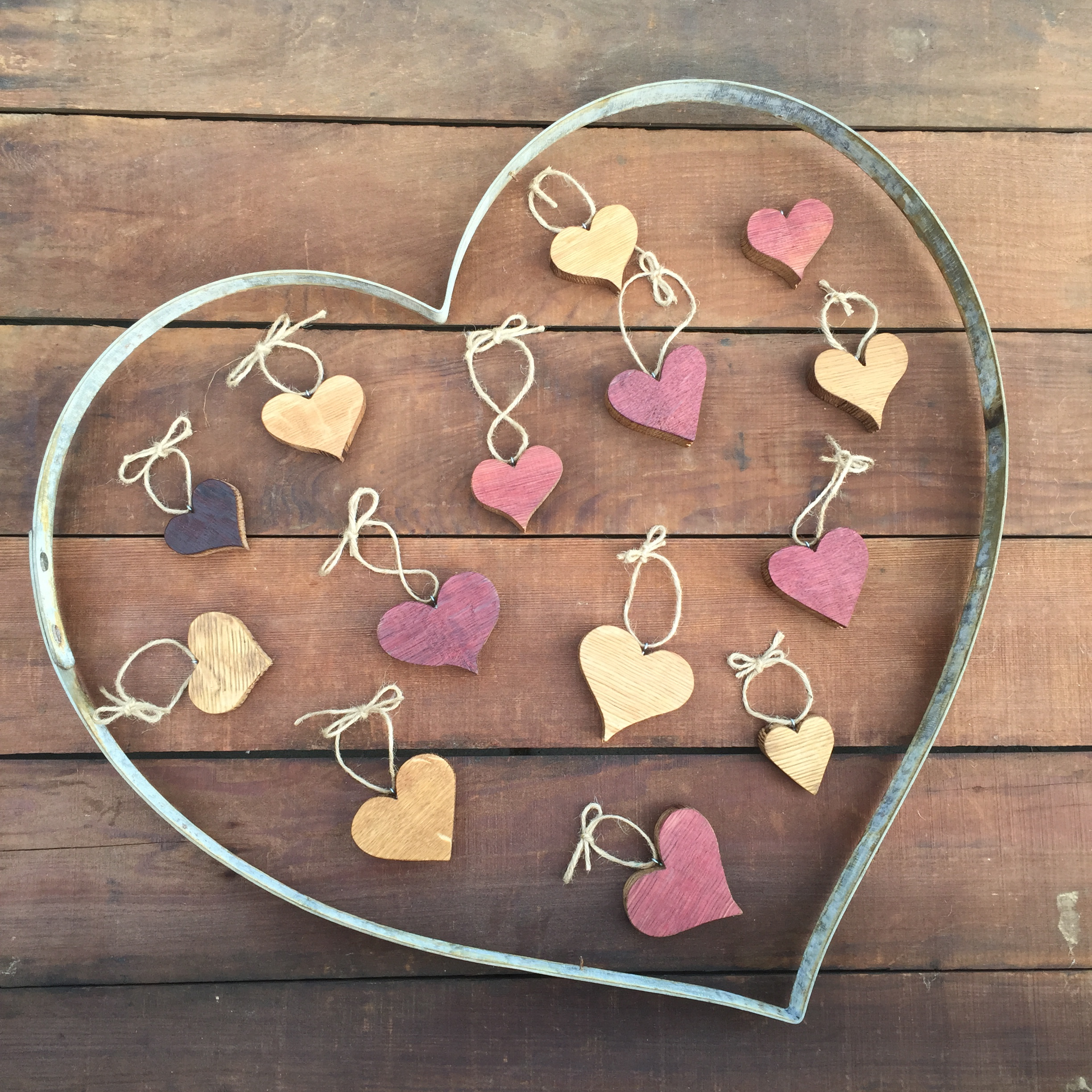 Hanging Wood Hearts