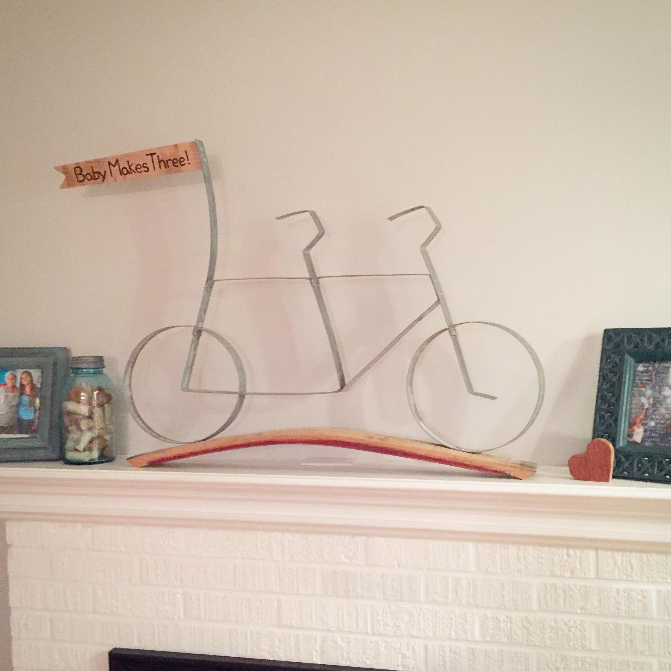 Tandem Bike with Wood Flag