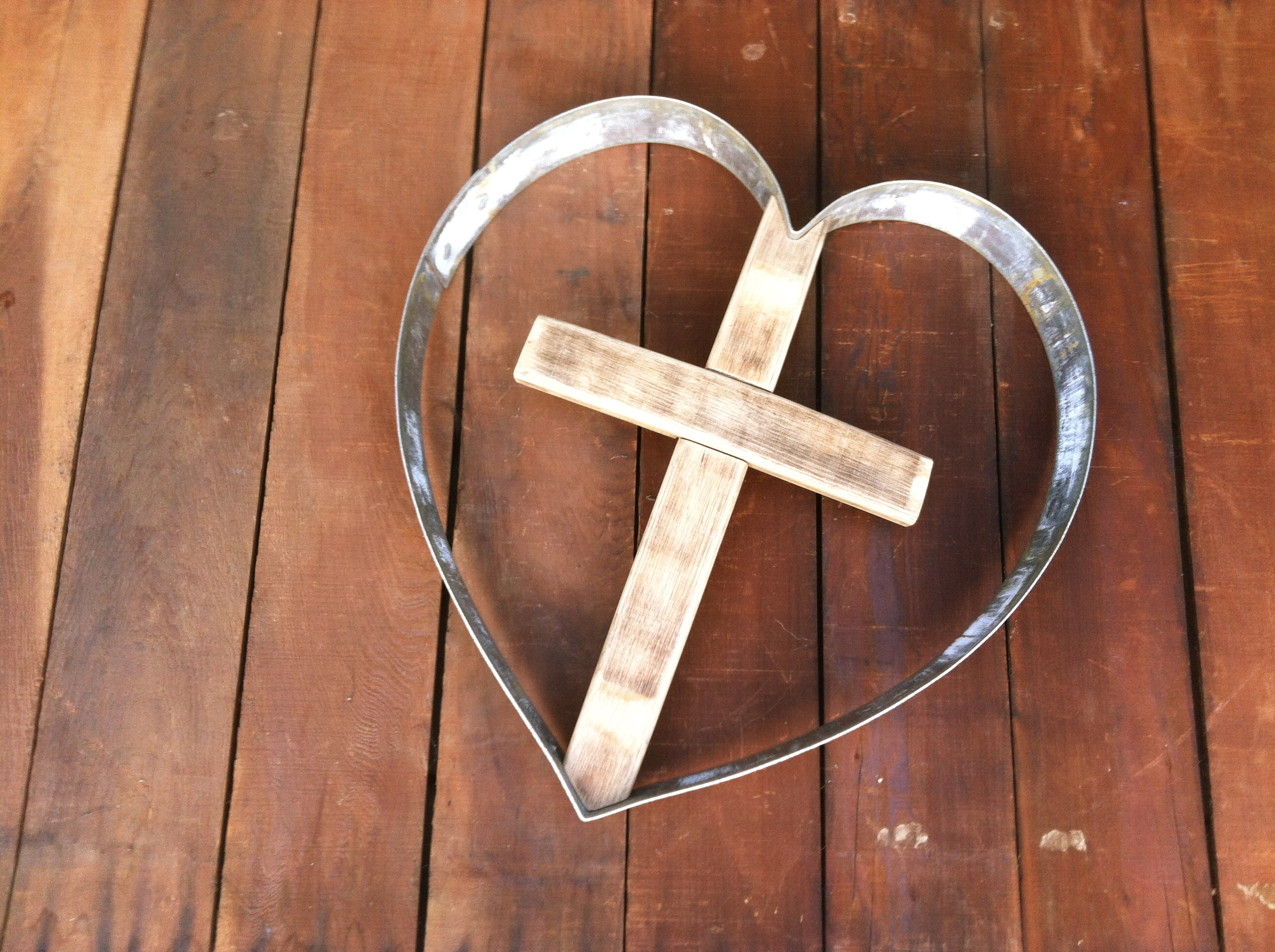 Cross Inside Heart - Rounded
