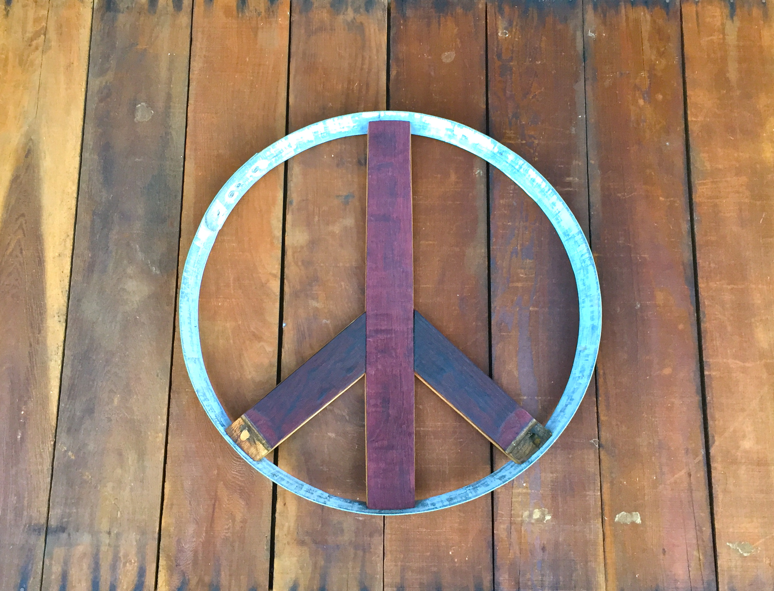 Peace Sign Wine Stained Side