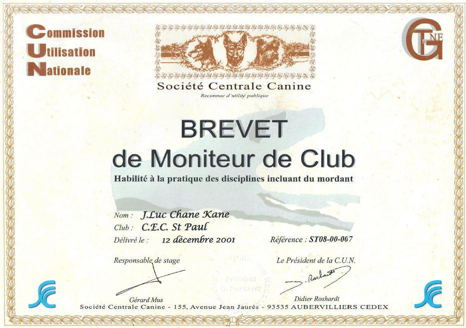 Brevet de Moniteur de Club