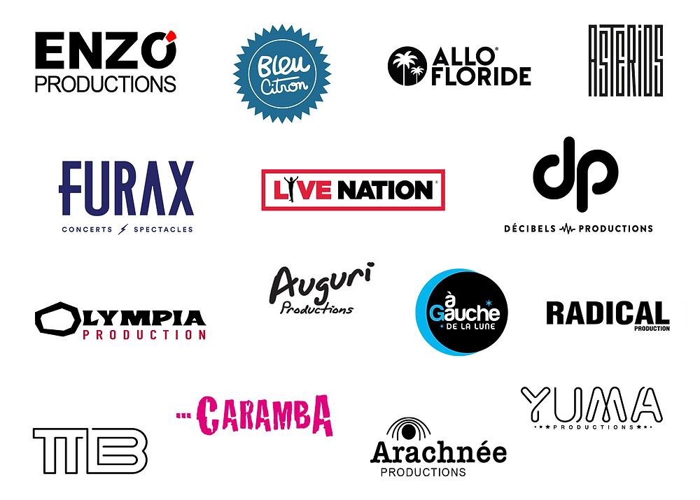 principaux tourneurs en France (Allo Floride, Furax, Olympia, decibels, asterios, enzo prod