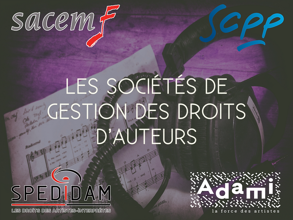sociétés de gestion des droits d'auteurs sacem spedidam adami scpp
