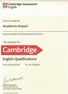 Cambridge English Language - Certificado de Centro Preparador