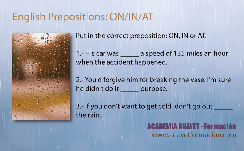 Prepositions ON IN AT - INGLES