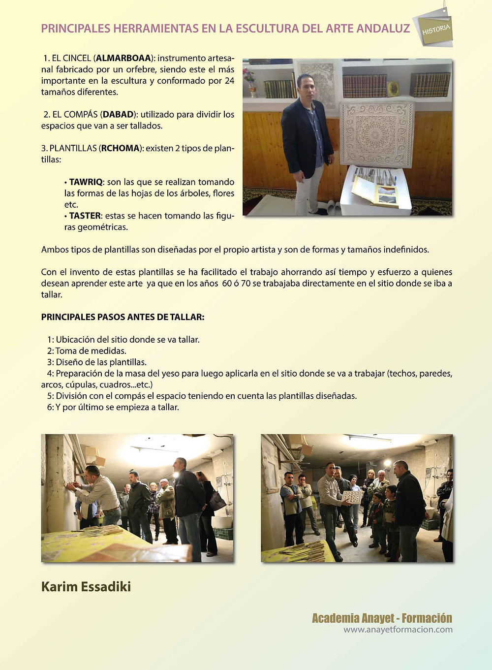 PRINCIPALES HERRAMIENTAS  Y PASOS EN LA ESCULTURA DEL ARTE ANDALUZ