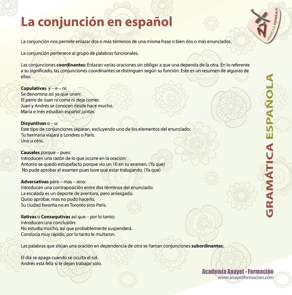 Algunas conjunciones en Español