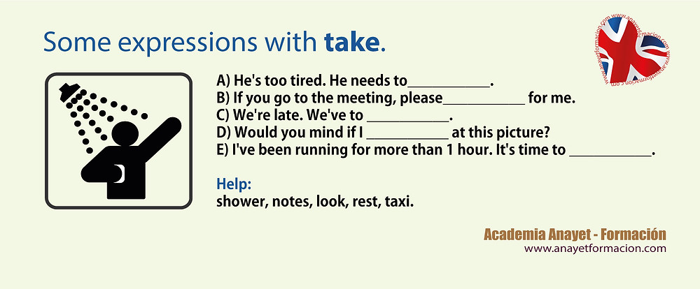 Inglés. Some expressions with take